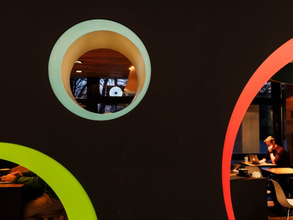 Colored Circles at the Cafe in University.